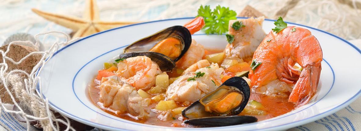 Teller mit Meeresfrüchten
